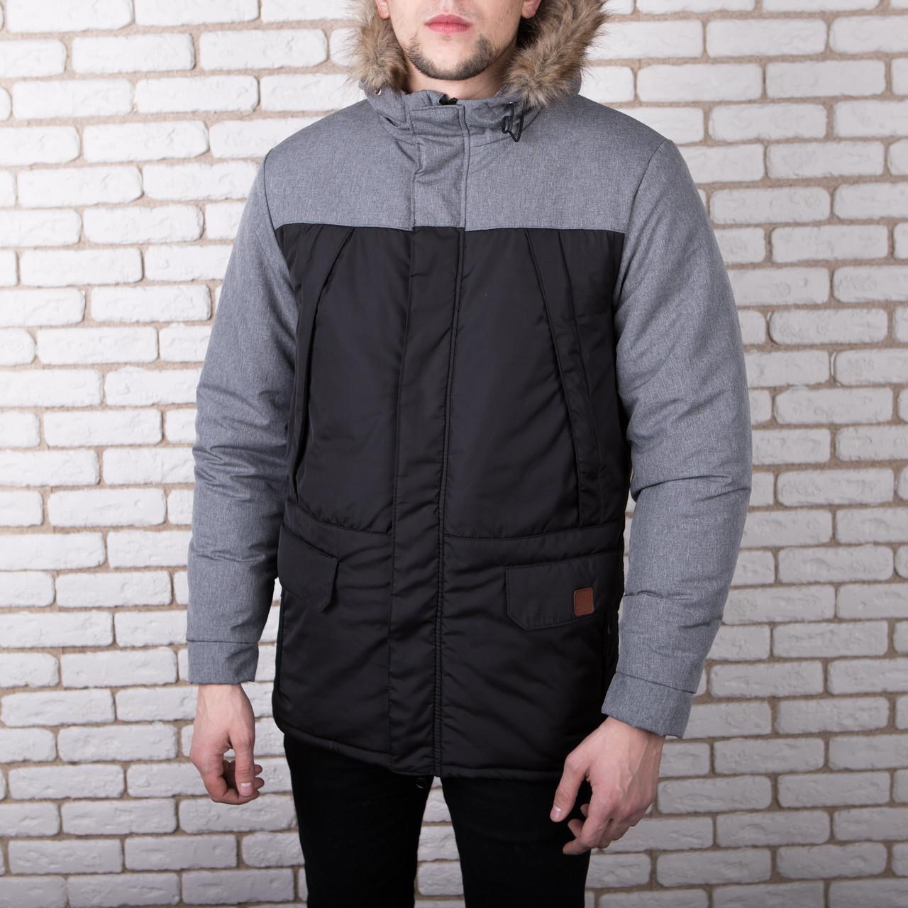 Куртка ALASKA зимняя мужская Pobedov (черная с серой вставкой)