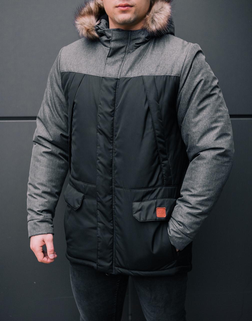 Куртка ALASKA зимняя мужская Pobedov (черная с вставкой антрацит)