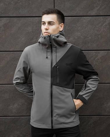 Мужская куртка Boris Pobedov (серая с черной вставкой), фото 2