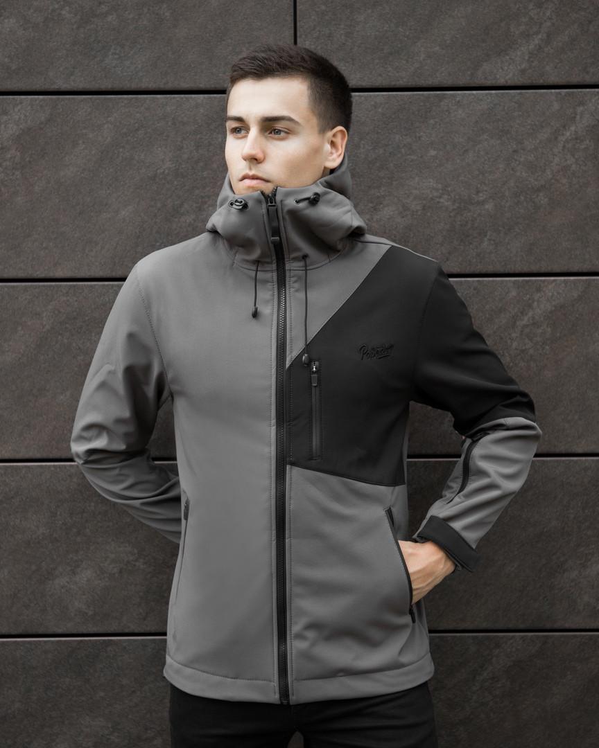 Мужская куртка Boris Pobedov (серая с черной вставкой) - фото 1
