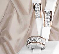 """Шикарний срібний набір прикрас з золотими вставками і білими фіанітами """"Белла"""", фото 1"""
