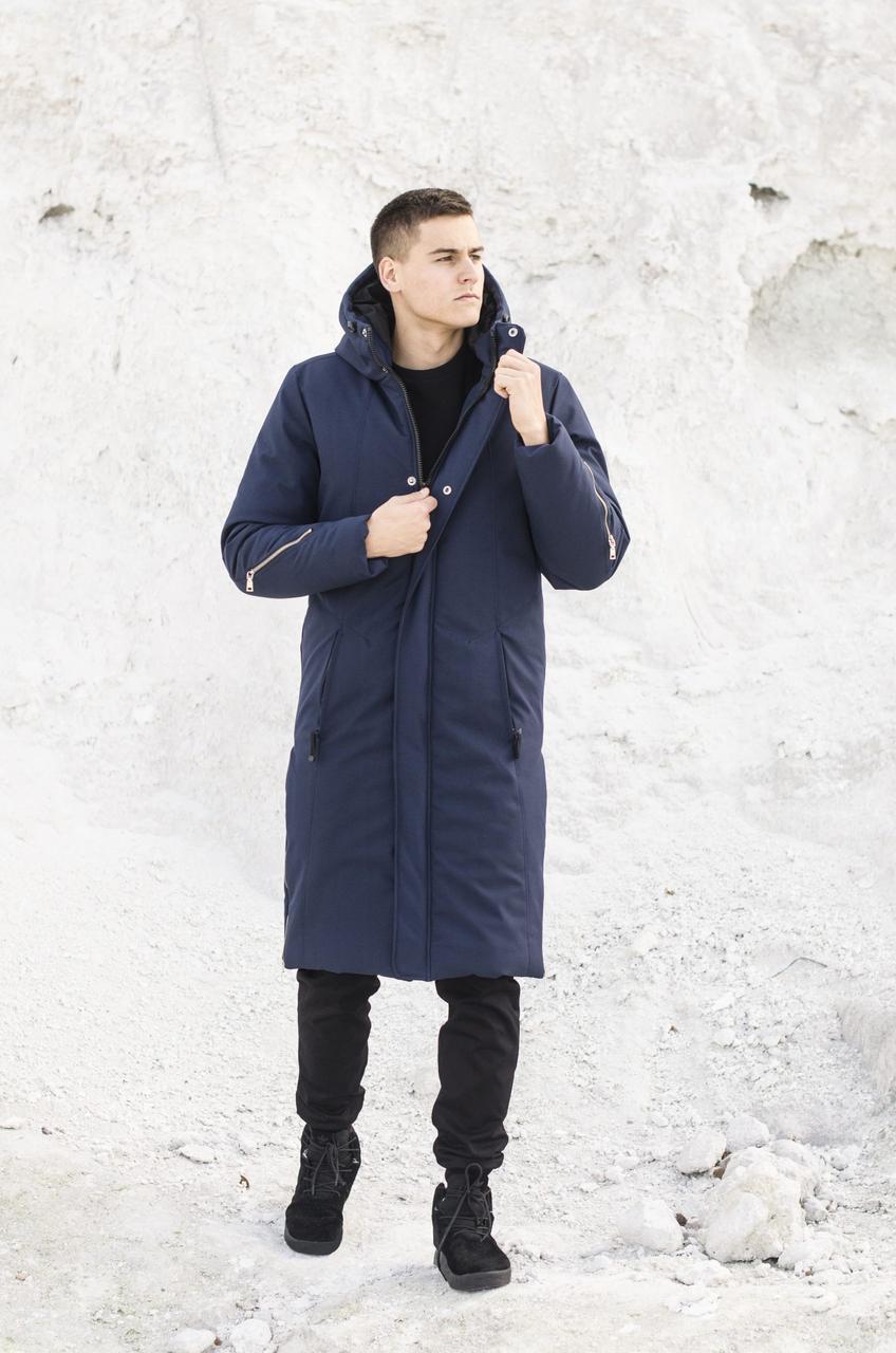 Мужская куртка-пальто зимняя 'Champion' Pobedov (синяя)
