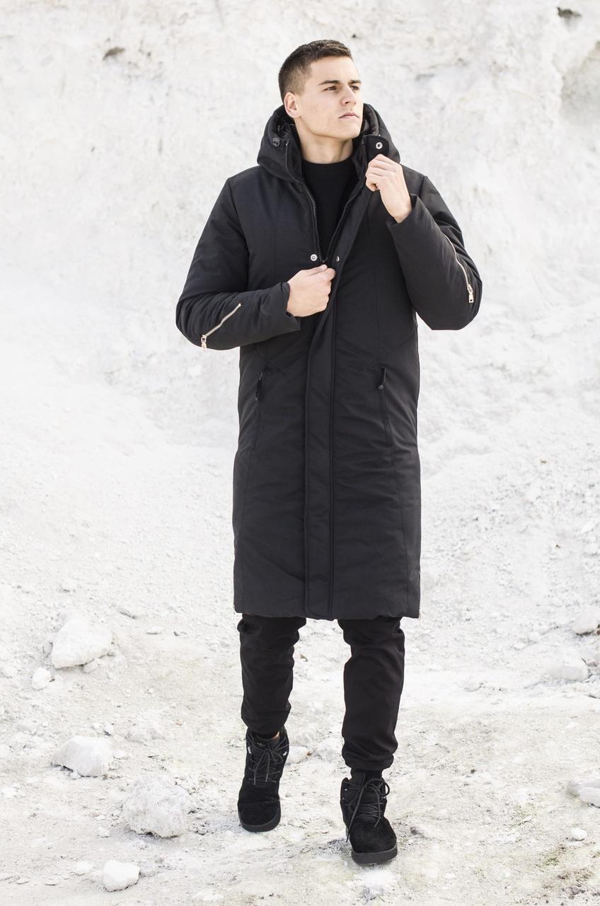 Мужская куртка-пальто зимняя 'Champion' Pobedov (черная)