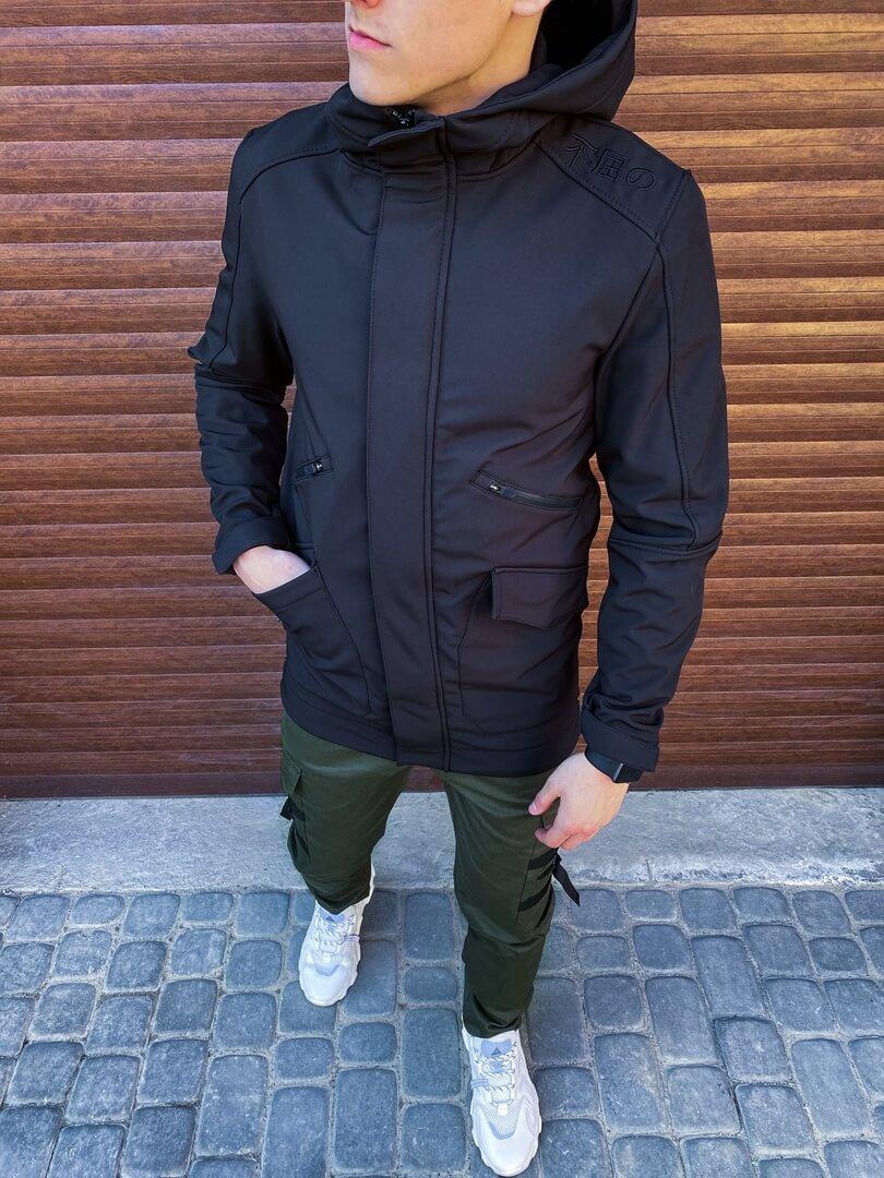 Мужская куртка Japan Pobedov (черная)