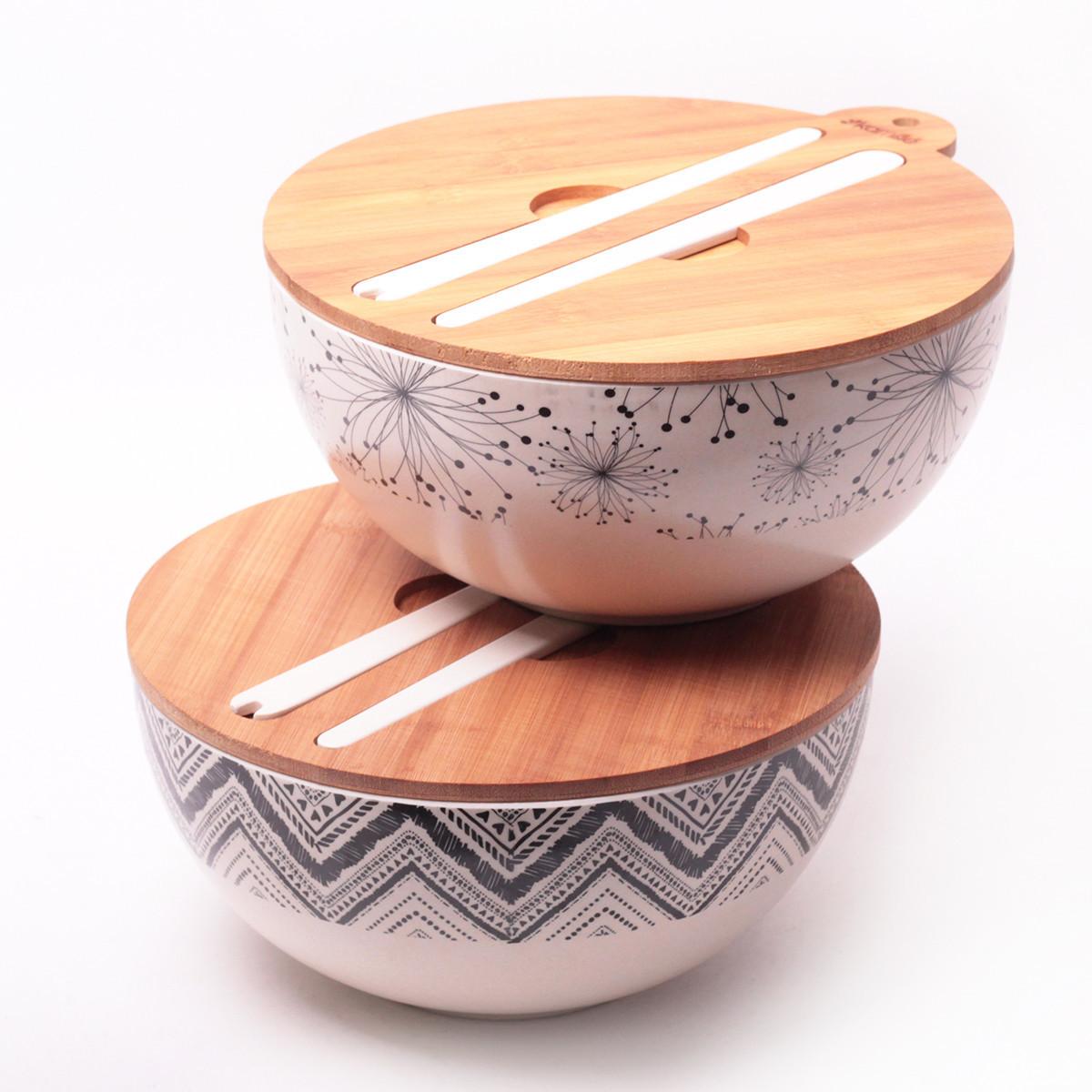 Миска з бамбукового волокна з кришкою і приладами 27 см Kamille KM-4384