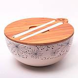 Миска з бамбукового волокна з кришкою і приладами 27 см Kamille KM-4384, фото 2