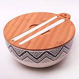 Миска з бамбукового волокна з кришкою і приладами 27 см Kamille KM-4384, фото 3