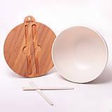 Миска з бамбукового волокна з кришкою і приладами 27 см Kamille KM-4384, фото 4