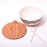 Миска з бамбукового волокна з кришкою і приладами 27 см Kamille KM-4384, фото 5