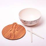 Миска з бамбукового волокна з кришкою і приладами 27 см Kamille KM-4384, фото 6