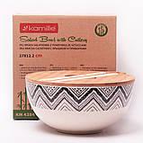 Миска з бамбукового волокна з кришкою і приладами 27 см Kamille KM-4384, фото 8