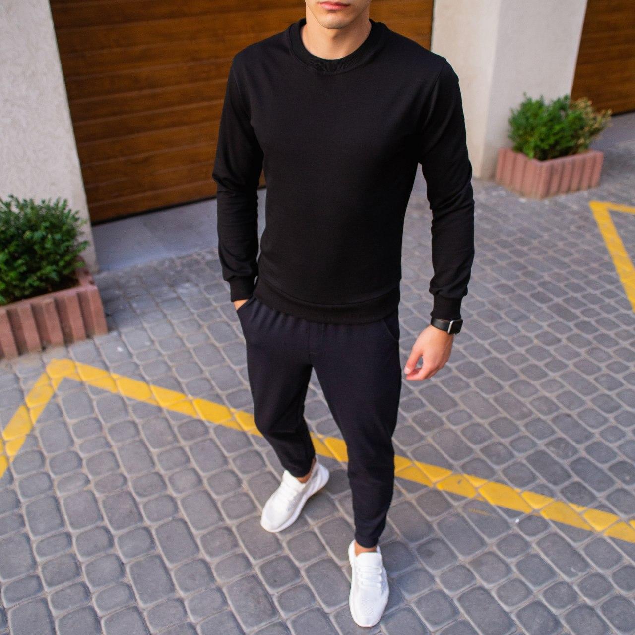Мужской зимний спортивный костюм 99 Pobedov (черный с темно-синим)