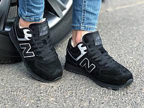 Кроссовки зимние женские, подросток замш черные New Balance реплика, фото 2