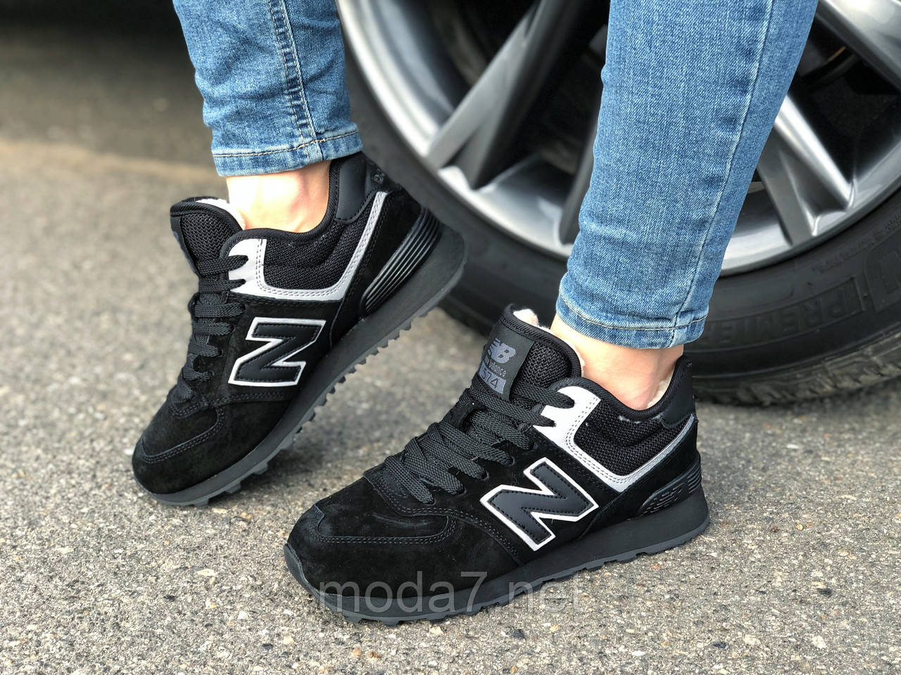 Кроссовки зимние женские, подросток замш черные New Balance реплика