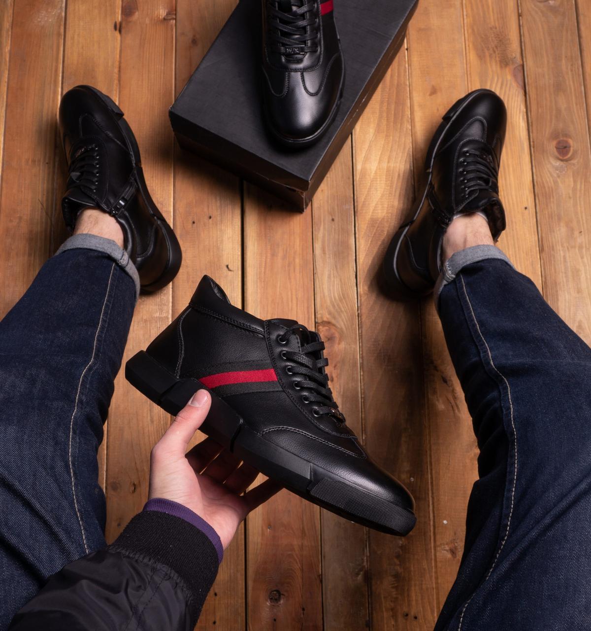 Мужские ботинки Калах 387 Pobedov (черные с красной полоской)
