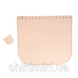 Клапан для сумки из натуральной кожи (20*18), цвет светло-розовый