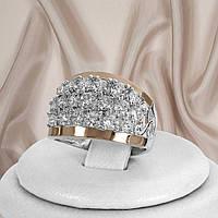 """Шикарное женское кольцо из серебра 925 пробы и золотыми пластинами 375 пробы и белыми фианитами """"Лета"""", фото 1"""