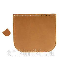Клапан для сумки из натуральной кожи (20*18), цвет рыжий матовый