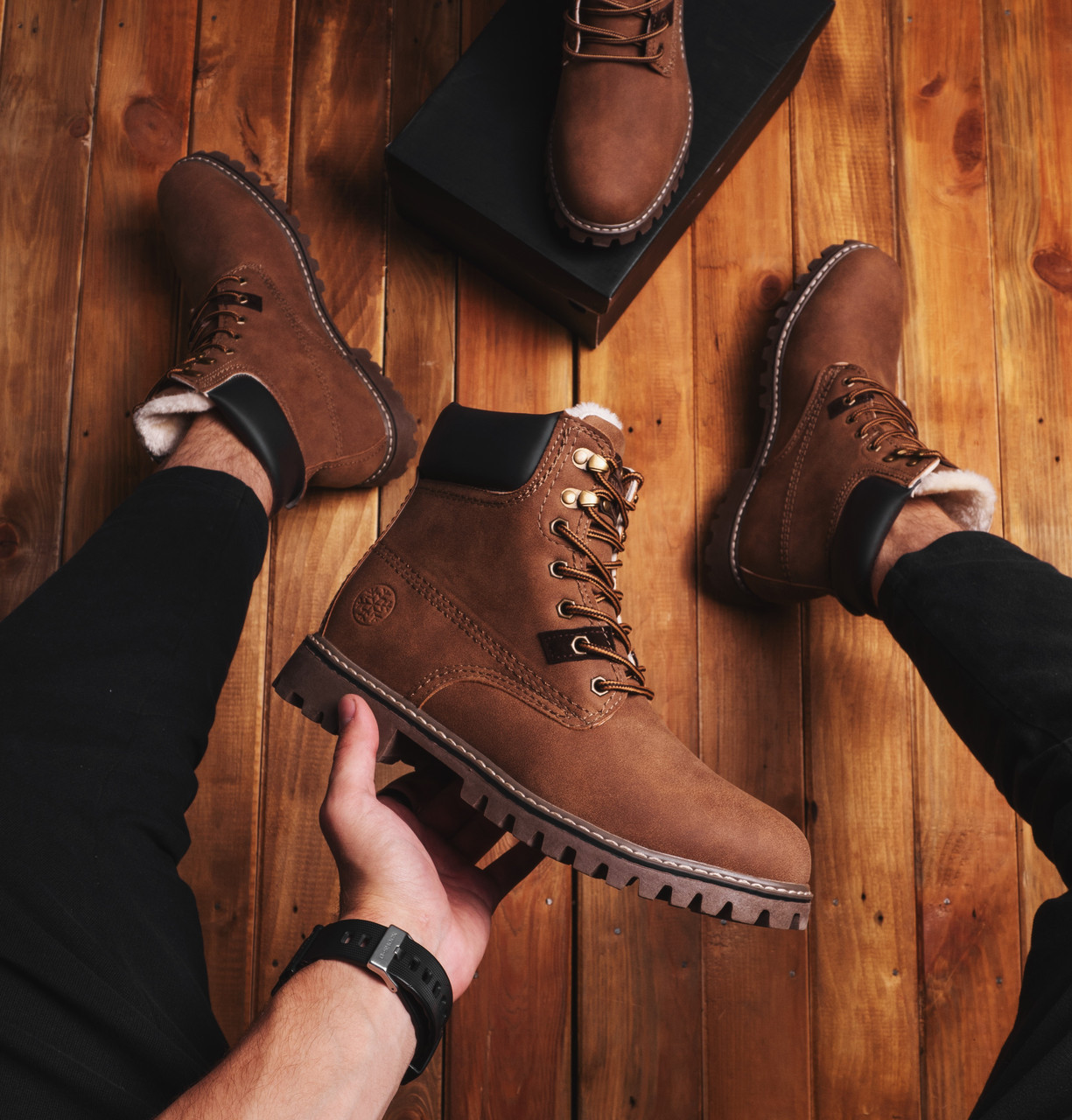 Мужские ботинки Тимб Сноу Pobedov (коричневые)