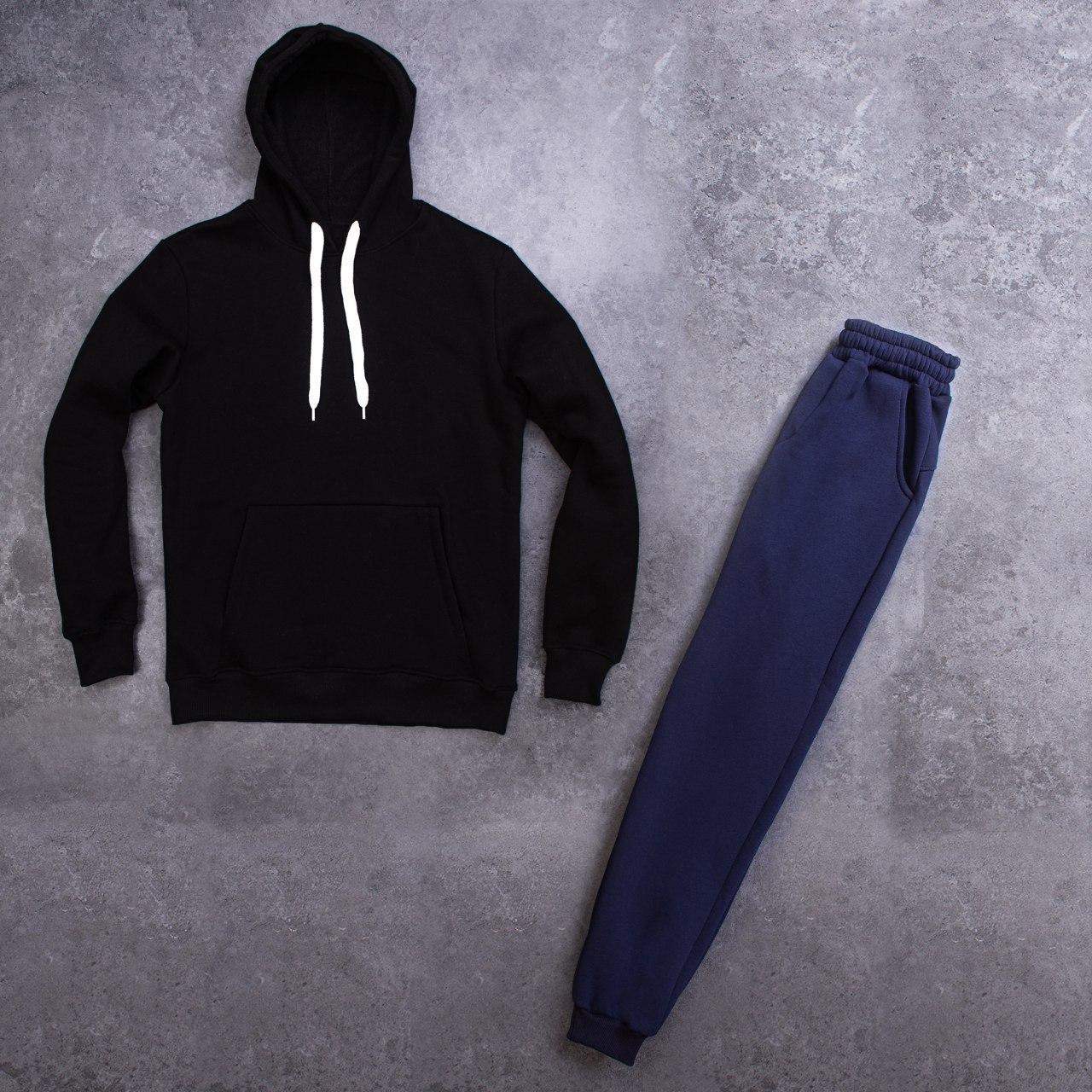 Мужской зимний спортивный костюм 98 Pobedov (черный с синим)