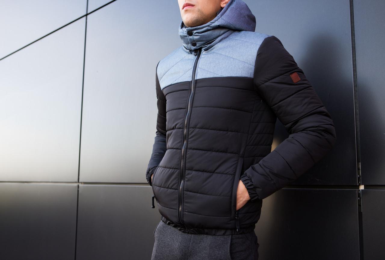 Мужская куртка Rise Pobedov (черная с серой вставкой) - фото 1