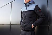 Мужская куртка Rise Pobedov (черная с серой вставкой)