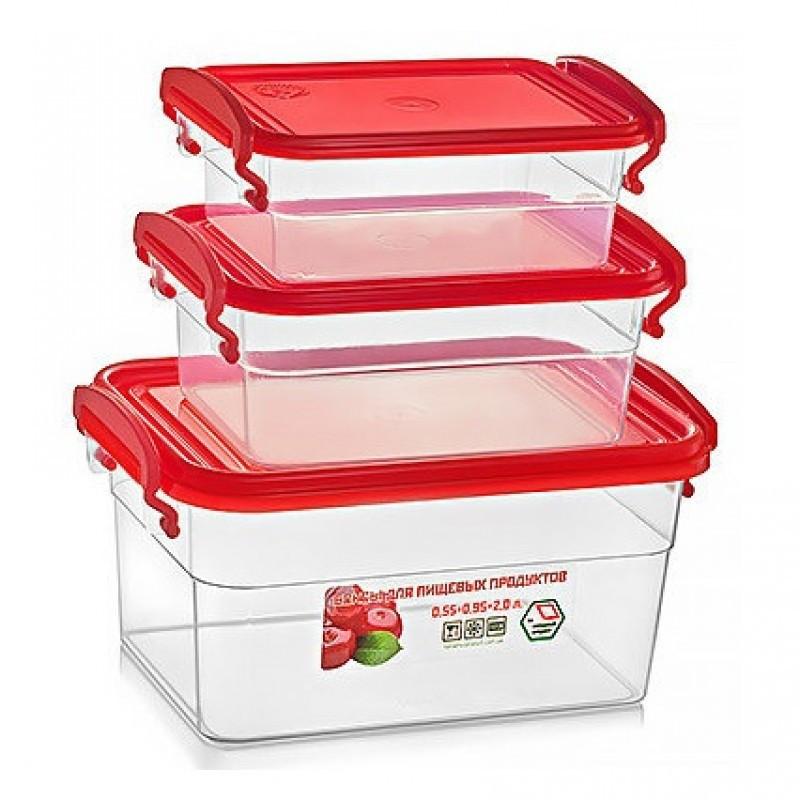 Набор контейнеров пищевых Stenson NP-62 3 предмета красный