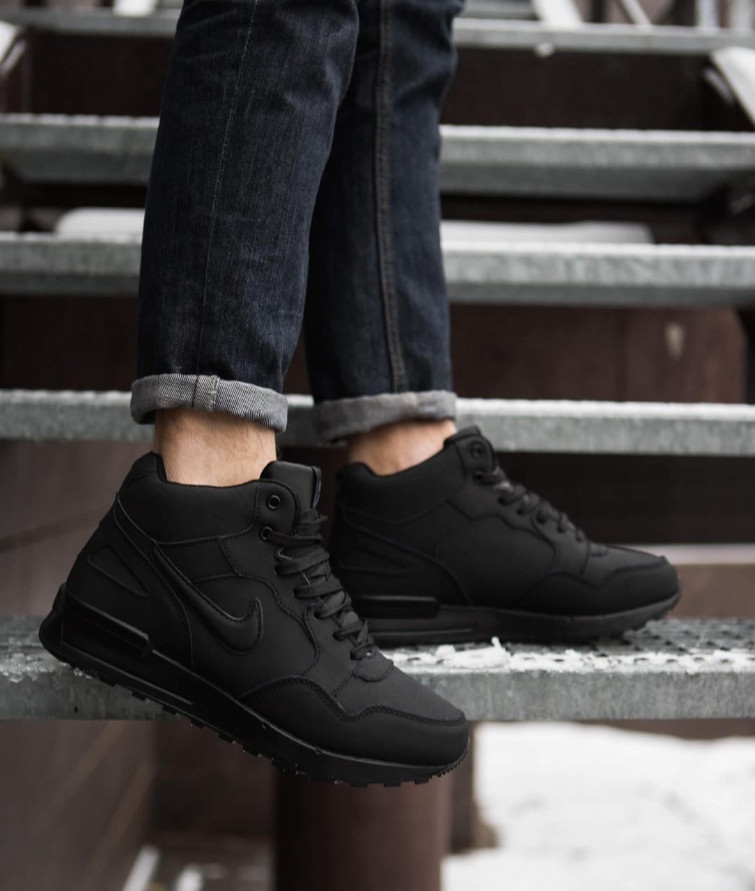 Мужские ботинки Мид Хай Pobedov (черные)