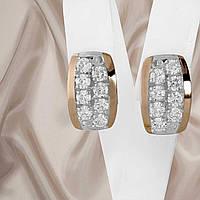 """Красивые женские серебряные серьги с золотыми пластинами и белыми фианитами """"Лета"""""""