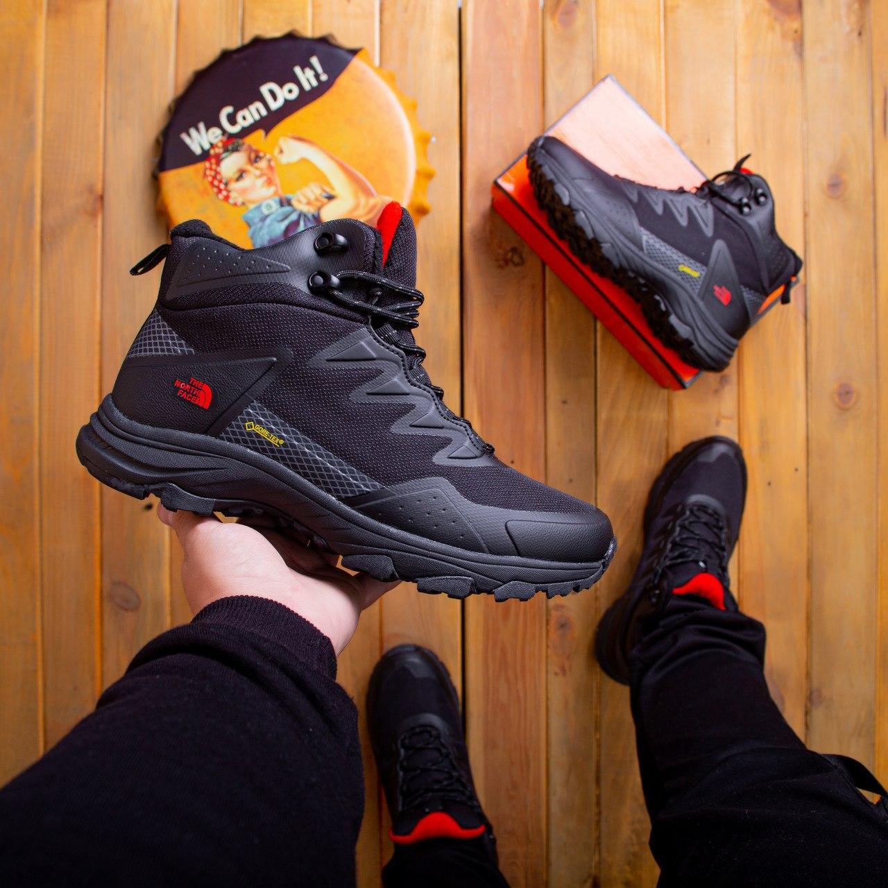 Мужские зимние кроссовки Т*ф высокие Pobedov (черные с красной подошвой)