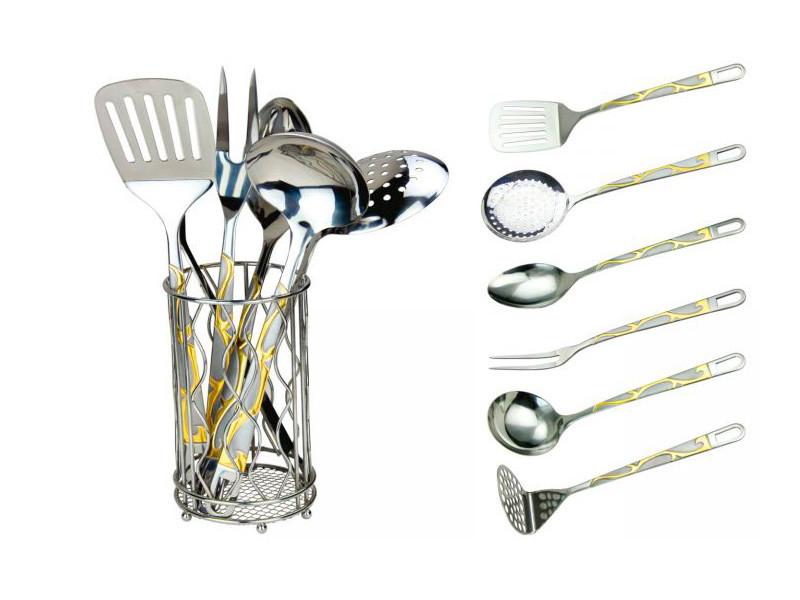 Кухонний набір в кошику з золотистим декором RAINSTAHL 7пр