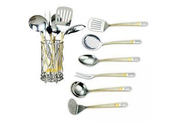 Кухонний набір в склянці з золотистим декором RAINSTAHL 7пр