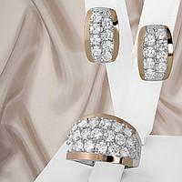 """Шикарний срібний набір прикрас з золотими вставками і білими фіанітами """"Літа"""", фото 1"""
