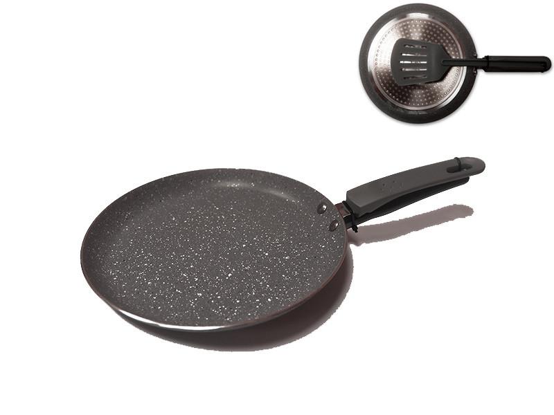 Сковорода млинна з лопаткою Maestro гранітне покриття 250мм