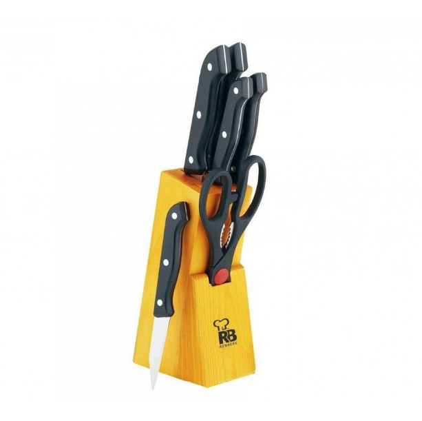 Набір кухонних ножів на дерев'яній підставці 7 пр RENBERG RB-2568