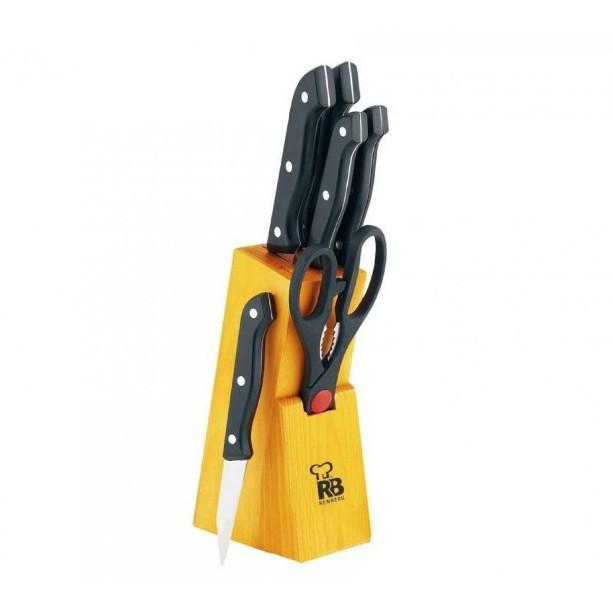 Набор кухонных ножей на деревянной подставке 7 пр RENBERG RB-2568