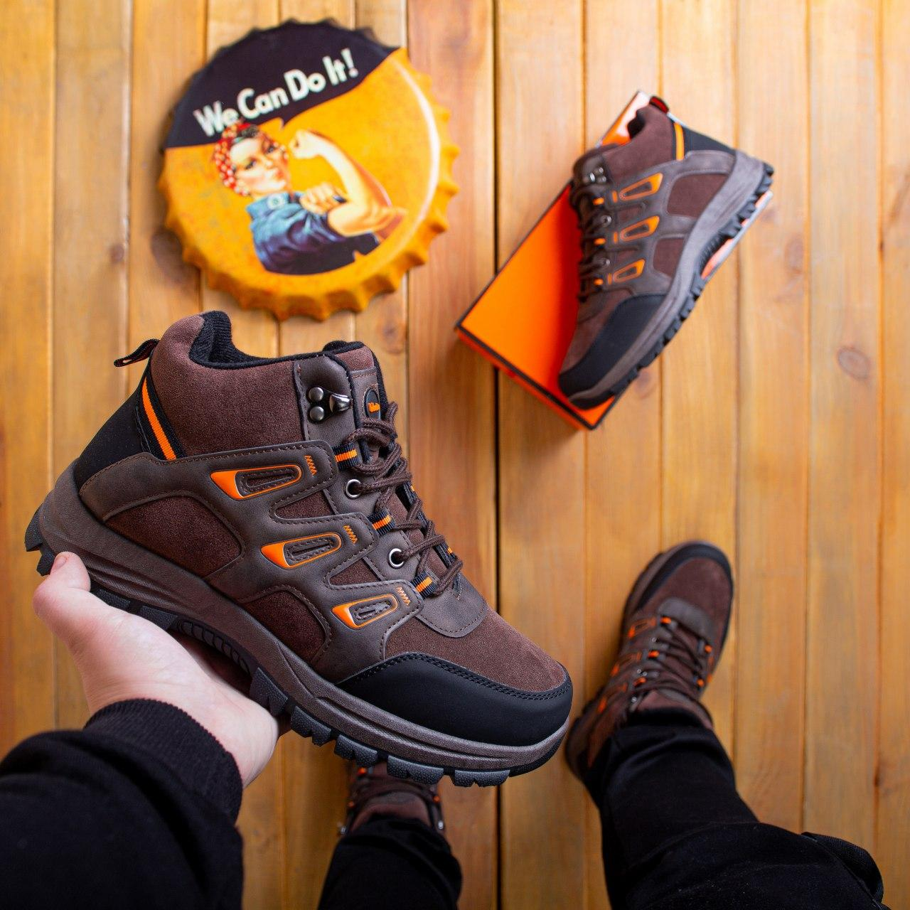 Мужские ботинки Гамми БО-БО Pobedov (коричневые с оранжевой вставкой)