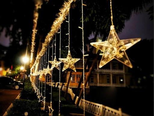 Гирлянда штора со светодиоднымы звездами, Теплый белый цвет, 138 LED, 4,8 м