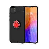 Чехол Fiji Hold для Huawei Y5p бампер накладка с подставкой Black-Red