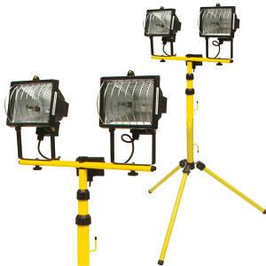Прожектор галогеновый 2 х 400 Вт, на штативе, черный корпус 82787