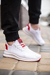 Мужские кроссовки Вонекс Лари Pobedov (белые красная подошва)