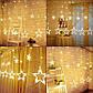 Гирлянда штора со светодиоднымы звездами, Теплый белый цвет, 138 LED, 4,8 м, фото 7