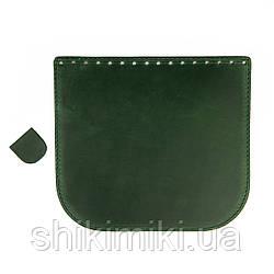 Клапан для сумки из натуральной кожи (20*18), цвет зеленый матовый