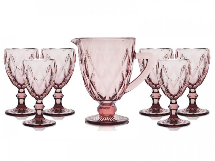Набор питьевой 7 пр Изумруд розовый Olens 34215-8-3