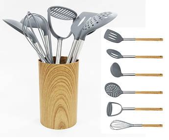 Набір кухонного приладдя з нейлону Maestro ручки під дерево 7пр