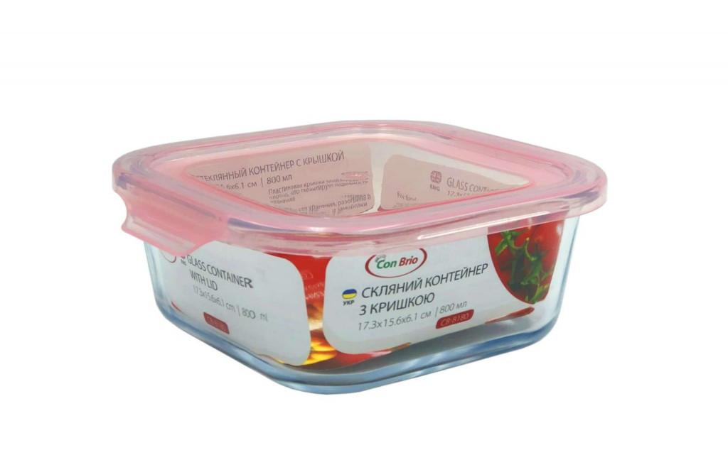 Пищевой контейнер стеклянный Con Brio 17,3х15,6х6,1см 800мл