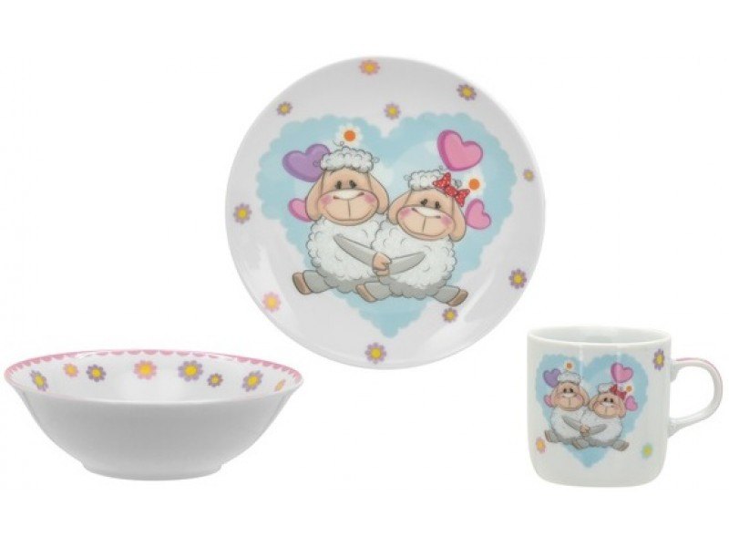 Дитячий набір посуду з овечками LIMITED Edition 3пр