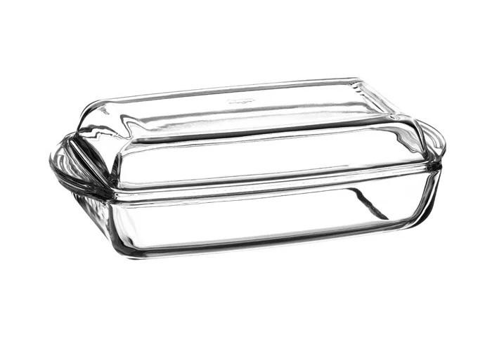 Скляна форма з кришкою для запікання Borcam 33.6х19х7/3.8 см 2,75+1,38 л