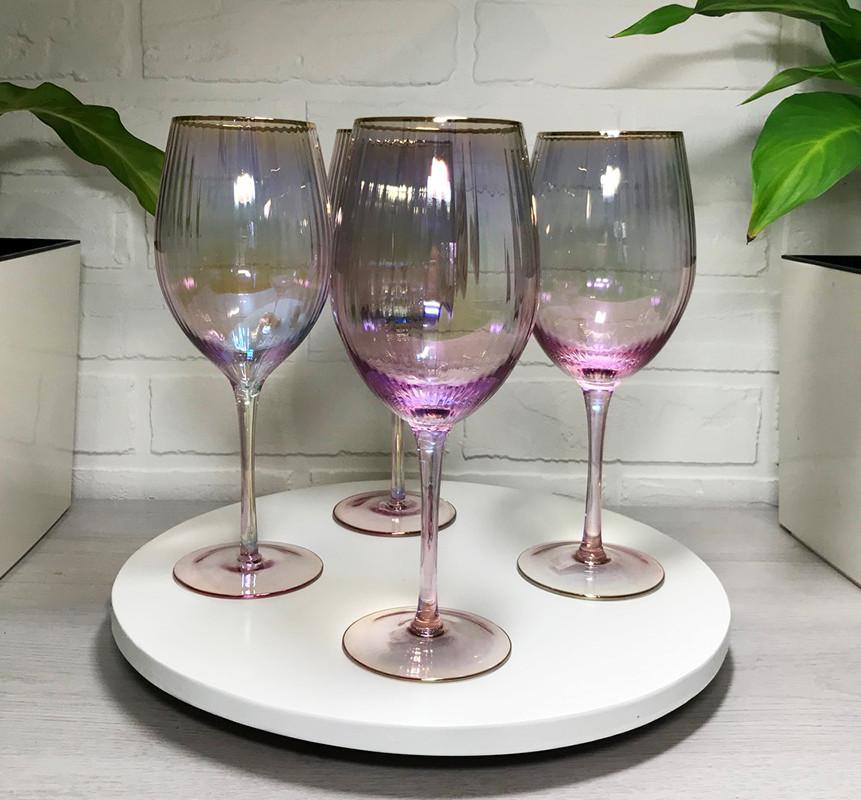 Бокалы хамелеон для вина Оптик Голд 325мл 4шт