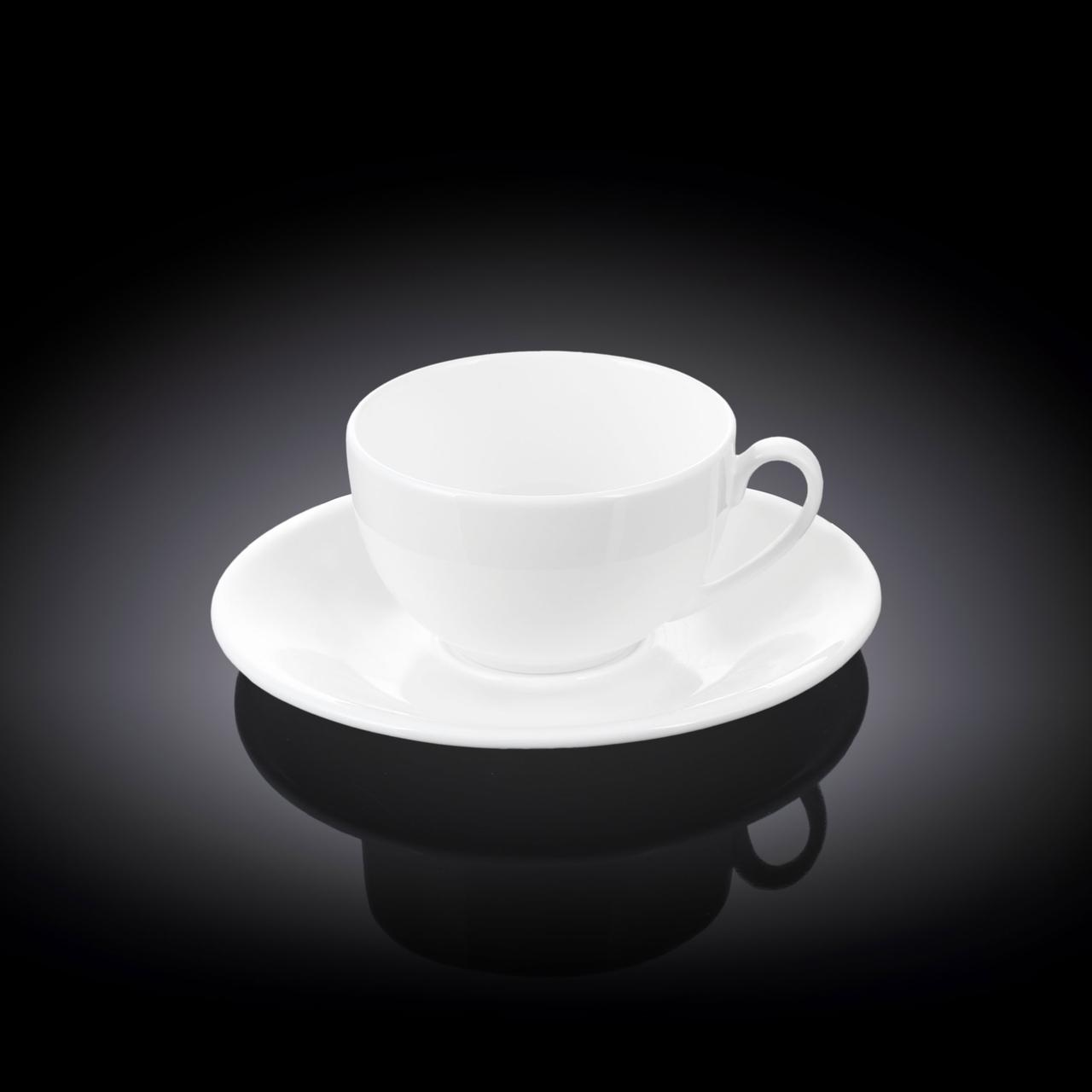 Біла кавова чашка з блюдцем Wilmax 80мл
